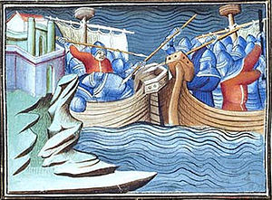 Battle of La Rochelle - The Battle of La Rochelle. Miniature from a 15th-century chronicle.