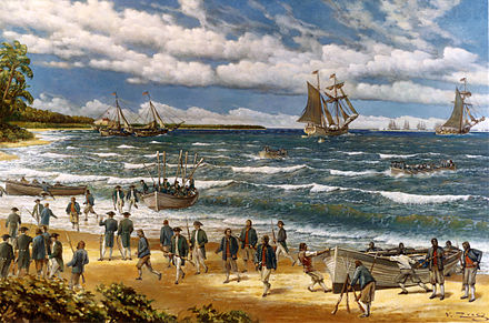 Continental Marines land at New Providence during the Battle of Nassau in 1776 Battle of Nassau.jpg