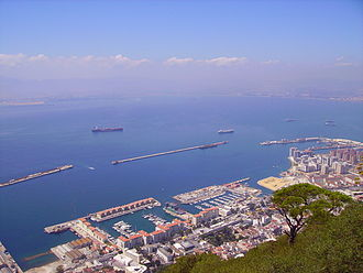 Detached Mole, Gibraltar Harbour - Gibraltar Harbour with South Mole (left), Detached Mole (center), and North Mole with Western Arm (right)