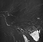 Bear Lake Glacier, terminus of mountain glacier and hanging glacier with firn line, August 27, 1963 (GLACIERS 6967).jpg