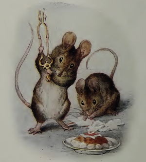 The Tale Of Two Bad Mice - In the frontispiece, Hunca Munca watches as Tom Thumb smashes the plaster food.