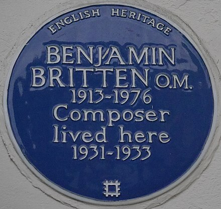 137 Cromwell Road blue plaque Benjamin Britten 137 Cromwell Road blue plaque.jpg