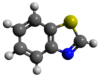Ball-and-stick model of benzothiazole