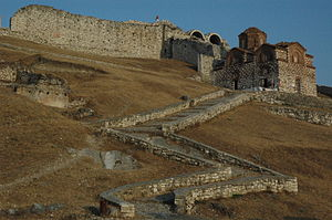 Berat County - The entrance of the citadel of Berat, with the 13th-century Byzantine church of the Holy Trinity.