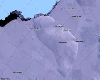 Ice rise in the British Antarctic Territory, Antarctica