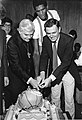Bernard Cardinal Law, Robert Parish, Mayor Raymond L. Flynn at Celtics victory celebration (9617962622).jpg