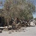 Bersjeba Markttafreel kooplui hebben hun waren op straat onder bomen uitgestal, Bestanddeelnr 255-9362.jpg
