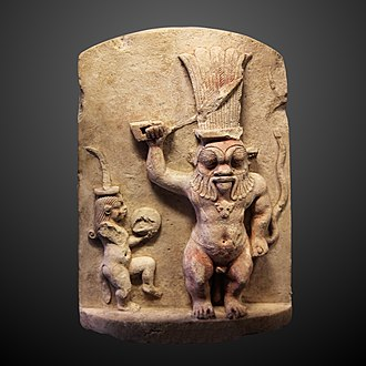 Bes - Stele depicting Bes and Beset, Late Period (Louvre, Paris)