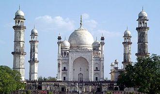 Aurangabad district, Maharashtra - Bibi Ka Maqbara is a monument built in 1660 by Aurangzeb's son, Azam Shah, as a loving tribute to his mother, Dilras Bano Begam.