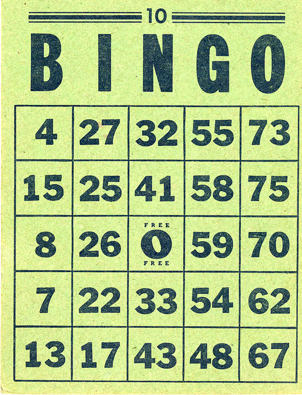 Dating bingo card