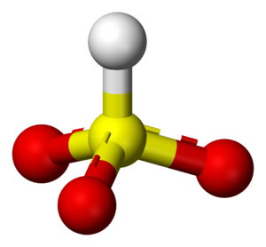 Bisulfite - A ball-and-stick model of the most commonly stated structure (the one having C3v symmetry) for the bisulfite ion in solution and in the solid state. Note that the hydrogen is bonded to the sulfur atom.