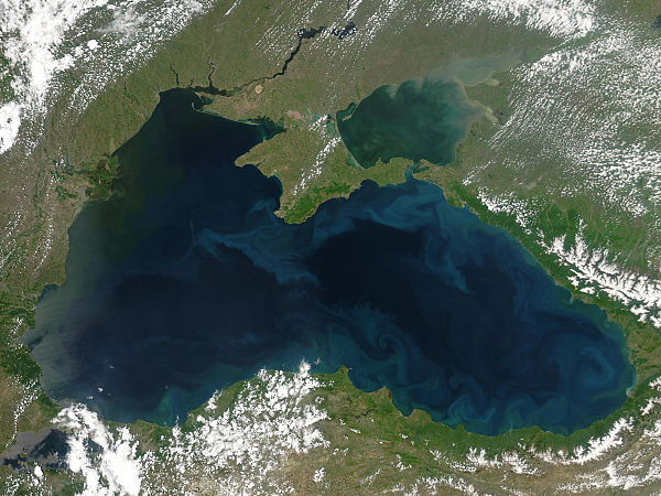 Phytoplankton blooms and plumes of sediment form the bright blue swirls that ring the Black Sea in this 2004 image Black Sea Nasa May 25 2004.jpg