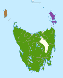 map of Tasmania showing multicolored area across island