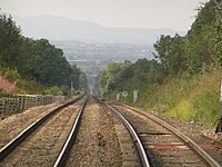 Blackwell at the top of the Lickey Incline, looking down towards Bromsgrove, Malverns in the distance - geograph.org.uk - 5684.jpg