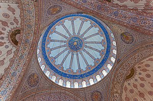 Seyyid Kasim Gubari - Islamic calligraphy on the dome and interior of the Sultan Ahmed Mosque