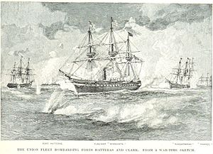 USS Minnesota (1855) - Minnesota (center) and other Union warships bombard Confederate forts at Hatteras Inlet