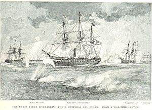 Battle of Hatteras Inlet Batteries - The Union fleet bombards Fort Hatteras