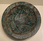 Bowl with flying bird, Syria, Ayyubid period, late 12th or early 13th century, earthenware with black painting under turquoise glaze - Cincinnati Art Museum - DSC04036.JPG