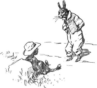 "Br'er Rabbit - Br'er Rabbit and the Tar-Baby, drawing by E. W. Kemble from ""The Tar-Baby"", by Joel Chandler Harris, 1904"