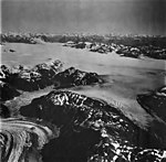 Brady Glacier and Palma Lake, icefield in the background and valley glacier, September 12, 1973 (GLACIERS 5677).jpg
