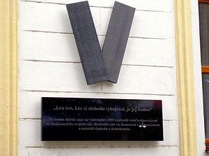 Velvet Revolution - Memorial of the Velvet revolution in Bratislava (Námestie SNP), Slovakia