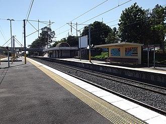 Bray Park railway station - Northbound view from Platform 2 in August 2012