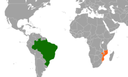 Map indicating locations of Brazil and Mozambique