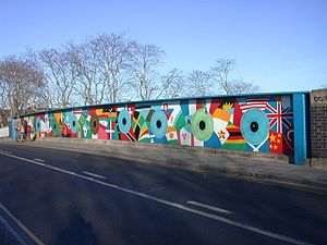 Mill Road, Cambridge - Image: Bridge mural on Mill Road, Cambridge, England