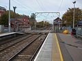 Brimsdown station look north to level crossing closed.JPG