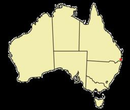 Brisbane har markeret på Australienkortet.