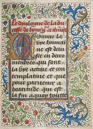 Margaret of York - Illuminated manuscript with historiated initial containing Margaret's arms as Duchess of Burgundy (click for detail)