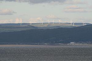 River Afan - Wind farm on the hills above Afan Valley