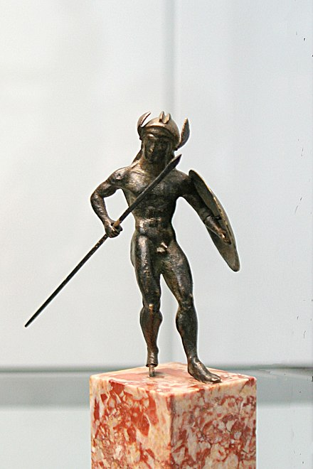 Infantry were the first military forces in history. This warrior statuette demonstrates that military culture was an important part of historical societies, c.480 BC, Staatliche Antikensammlungen.