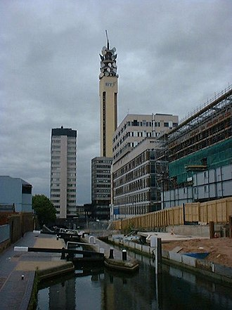 Birmingham and Fazeley Canal - Image: Bt tower brum 025591