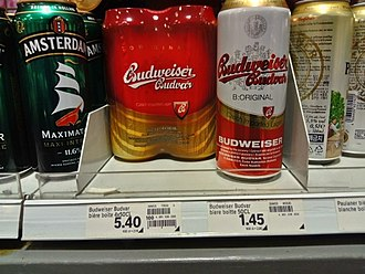 Budweiser Budvar Brewery - Budweiser as sold in Geneva, Switzerland in 2017