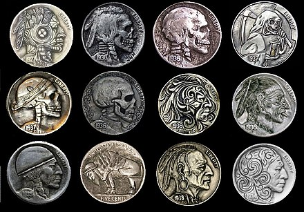 Buffalo nickels, coins customised with engraving tools Buffalo nickles.jpg
