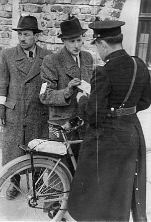Blue Police - Blue Police controlling passports at the Kraków Ghetto