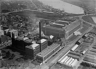 Bureau of Engraving and Printing - Aerial view of the BEP in Washington, D.C. circa 1918