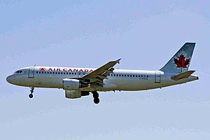 Air Canada Flight 759 - C-FKCK, the aircraft involved in the incident, landing at YYC in June 2007