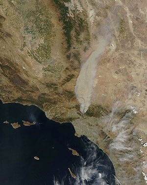 2009 California wildfires - Detail from a MODIS satellite image of the Station Fire, on August 29, 2009.