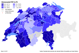 FDP.The Liberals - Percentages of the FDP at district level in 2011