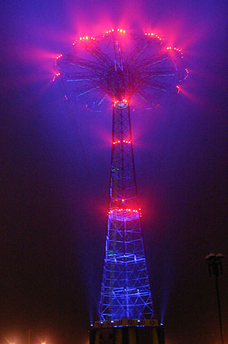 Parachute Jump - Coney Island Parachute Jump Illumination captured on a foggy night during programming session; design by Leni Schwendinger