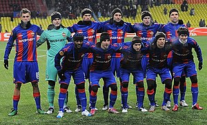 PFC CSKA Moscow - CSKA Moscow team in 2011 against PAOK at a UEFA Europa League match