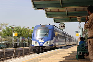 Caesarea-Pardes Hanna railway station - the train at the station.