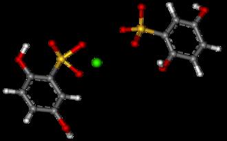 Calcium dobesilate - Image: Calcium dobesilate ball and stick