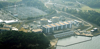 Calvert Cliffs Nuclear Power Plant - Aerial view of Calvert Cliffs Nuclear Power Plant