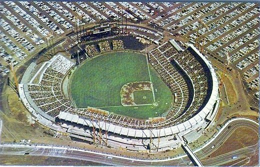 San Francisco's Candlestick Park (pictured in its 1960s configuration) was the venue for the Beatles' final concert before a paying audience. Candlestick Postcard - 01.JPG
