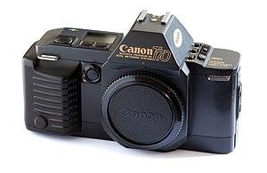 A single-lens reflex camera.