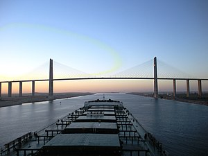 Bulk carrier - Post-deepening of the Suez Canal, a capesize bulk carrier approaches the Egyptian-Japanese Friendship Bridge