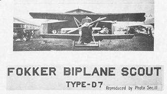 IV Corps Observation Group - Captured Fokker D.VII fighter